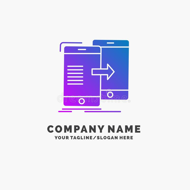Data, Sharing, sync, synchronization, syncing Purple Business Logo Template. Place for Tagline. Vector EPS10 Abstract Template background stock illustration