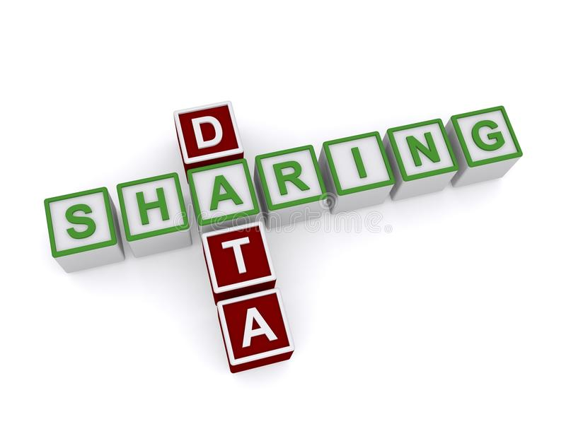 Data Sharing Words on 3D Cubes. The words data sharing on 3d cubes, isolated stock illustration