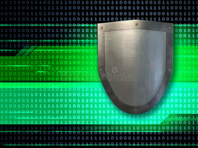 Data shield. Metal shield protecting data streams. Digital illustration