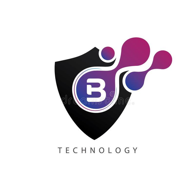Abstract Letter Inside Circle Logo: Data Shield Digital B Letter Logo Stock Illustration