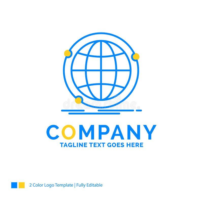 Data som är globala, internet, nätverk, blå gul affärslogo t för rengöringsduk vektor illustrationer