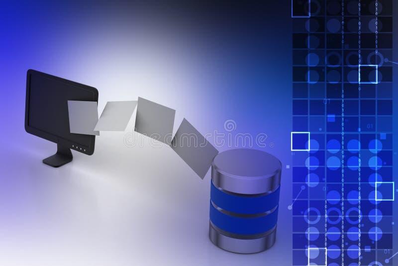 Data som överför till serveren royaltyfri illustrationer