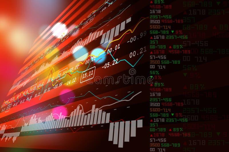 Data som analyserar i aktiemarknad royaltyfri illustrationer
