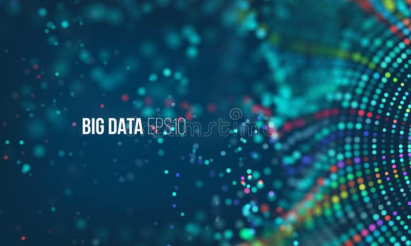 Data sorting flow process. Big data stream futuristic infographic. Colorful particle wave with bokeh stock illustration