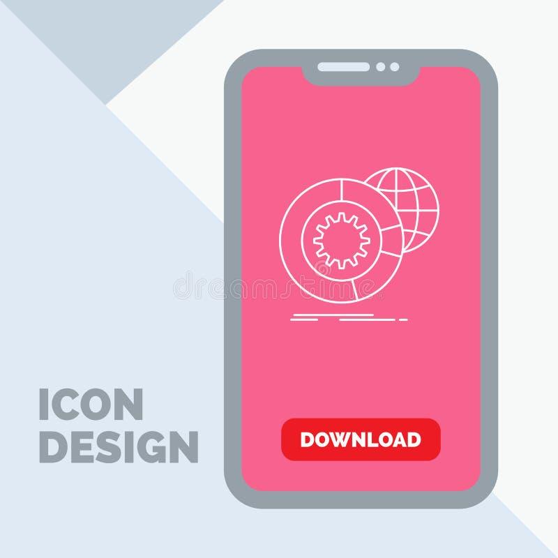 data stora data, analys, jordklot, servicelinje symbol i mobilen för nedladdningsida royaltyfri illustrationer