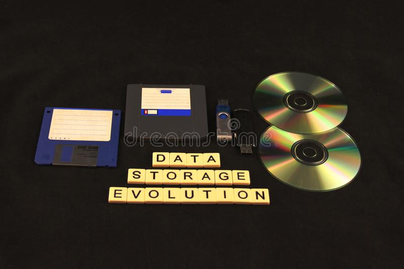 Data storage evolution spelled out in tiles on a black background under an assortment of storage devices royalty free stock photos