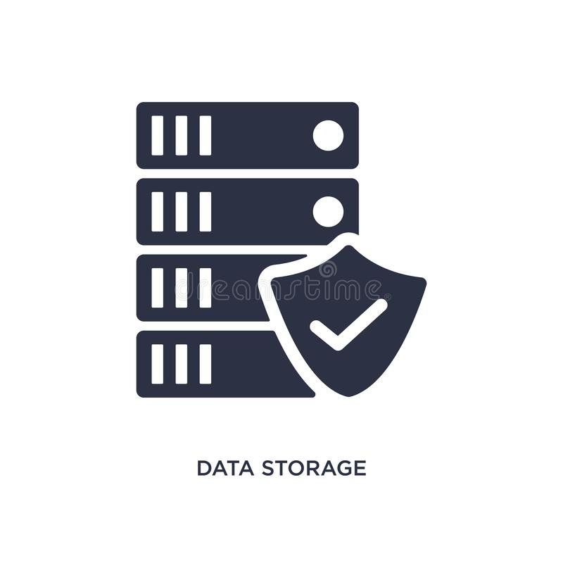 data storage icon on white background. Simple element illustration from gdpr concept stock illustration