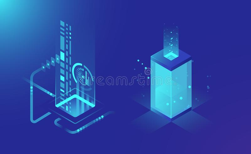 Data storage and processing, abstract technology elements, data flow, isometric server rack concept dark blue vector stock illustration