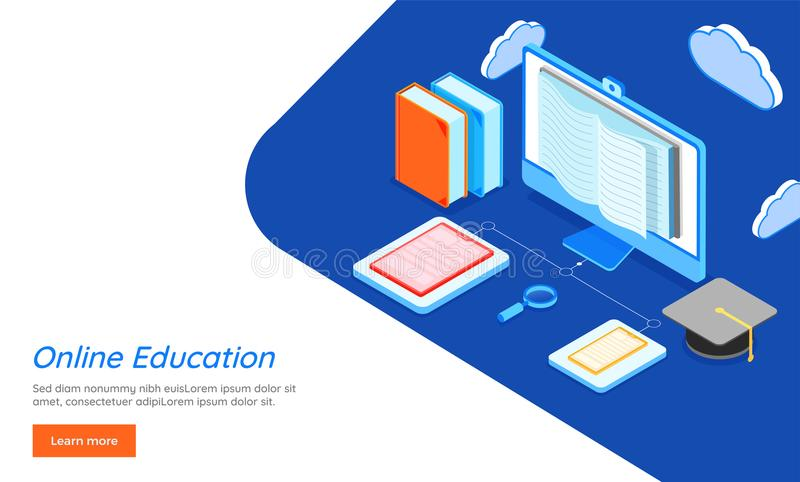 Data storage or sharing concept based Online Education landing p. Data storage or sharing concept based 3D isometric illustration of cloud computer connected stock illustration