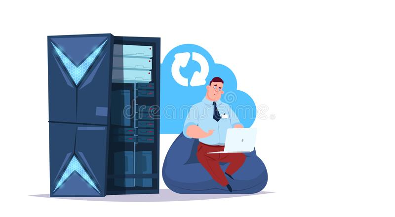 Data storage synchronization cloud center with hosting servers and staff. Computer technology, network and database vector illustration