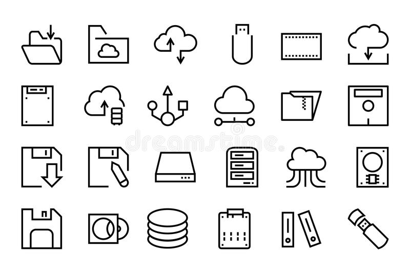 Data Storage Vector Line Icons 2 royalty free illustration