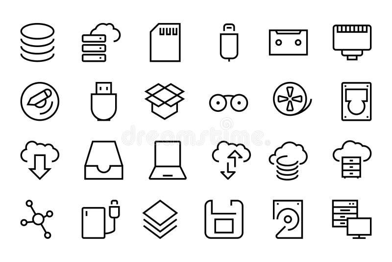 Data Storage Vector Line Icons 2 vector illustration