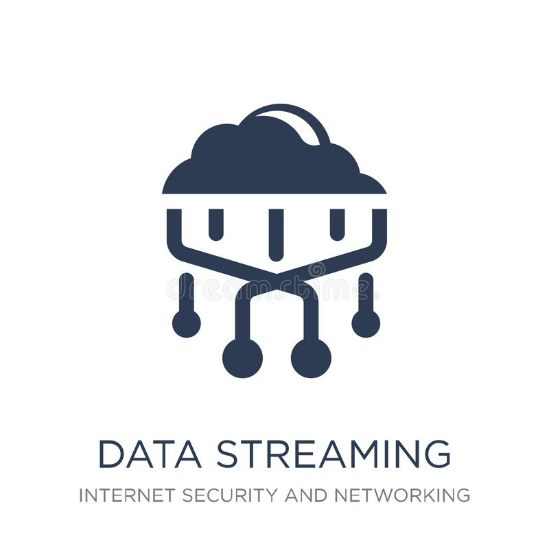 data streaming icon. Trendy flat vector data streaming icon on w stock illustration