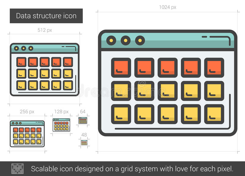 Data structure line icon. Data structure vector line icon isolated on white background. Data structure line icon for infographic, website or app. Scalable icon vector illustration