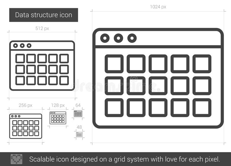 Data structure line icon. Data structure vector line icon isolated on white background. Data structure line icon for infographic, website or app. Scalable icon royalty free illustration