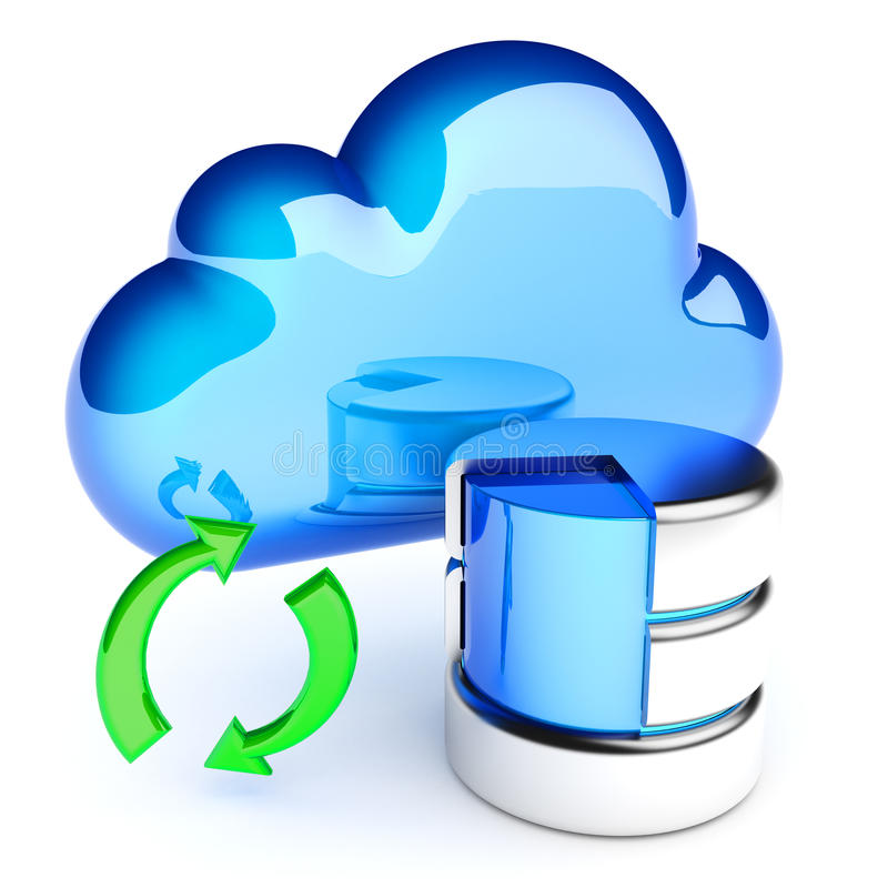 Data synchronization with the cloud storage vector illustration