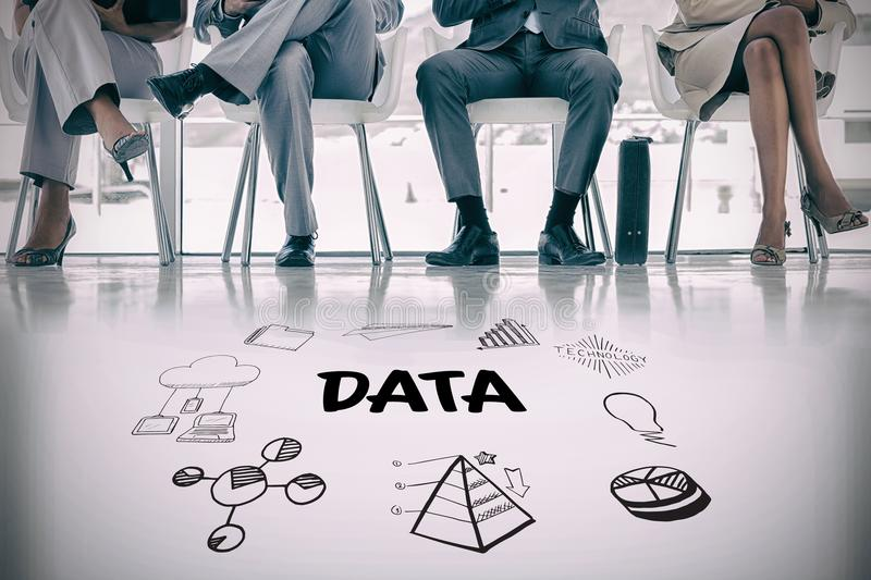 Composite image of data text amidst several icons. Data text amidst several icons against waiting room with business people royalty free stock photo