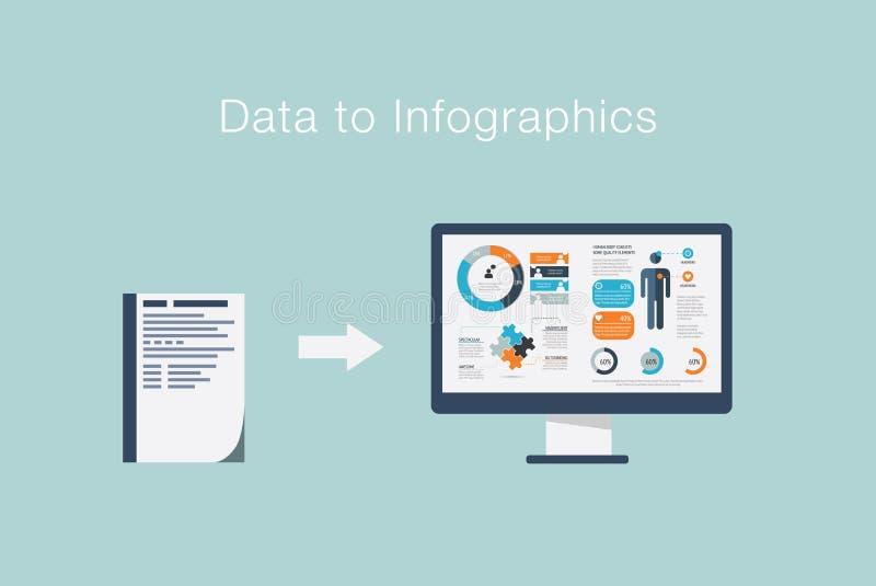 Data to infographics vector illustration flat styl stock illustration