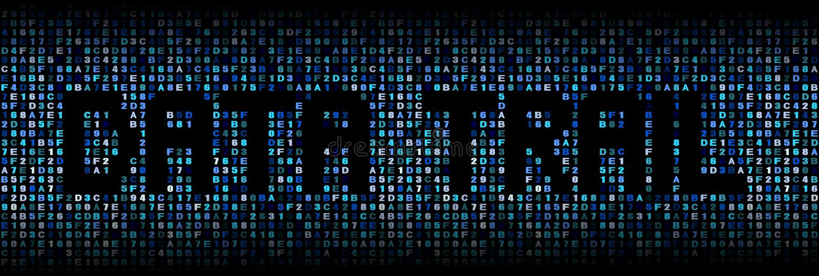 Data trail text on hex illustration royalty free stock photo