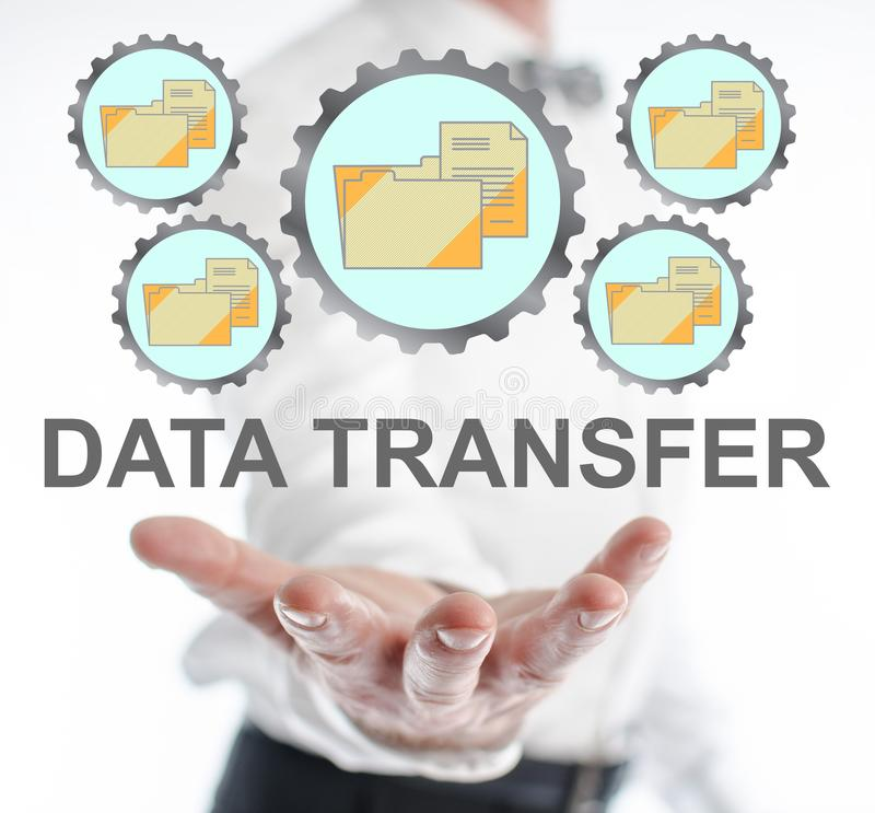 Data transfer concept levitating above a hand. Of a man royalty free stock image
