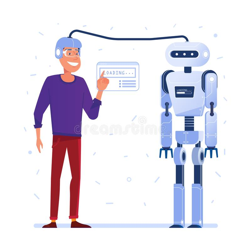 Data transfer from human brain to robot. vector illustration