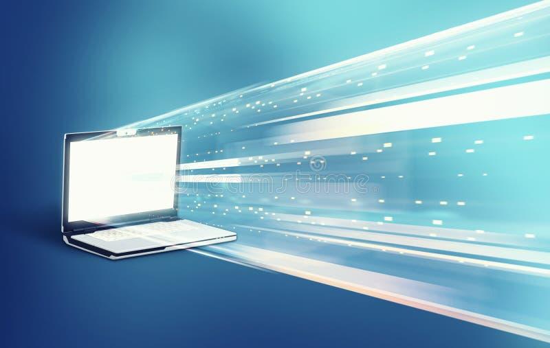 Data transfer laptop. Data transfering to a laptop stock image
