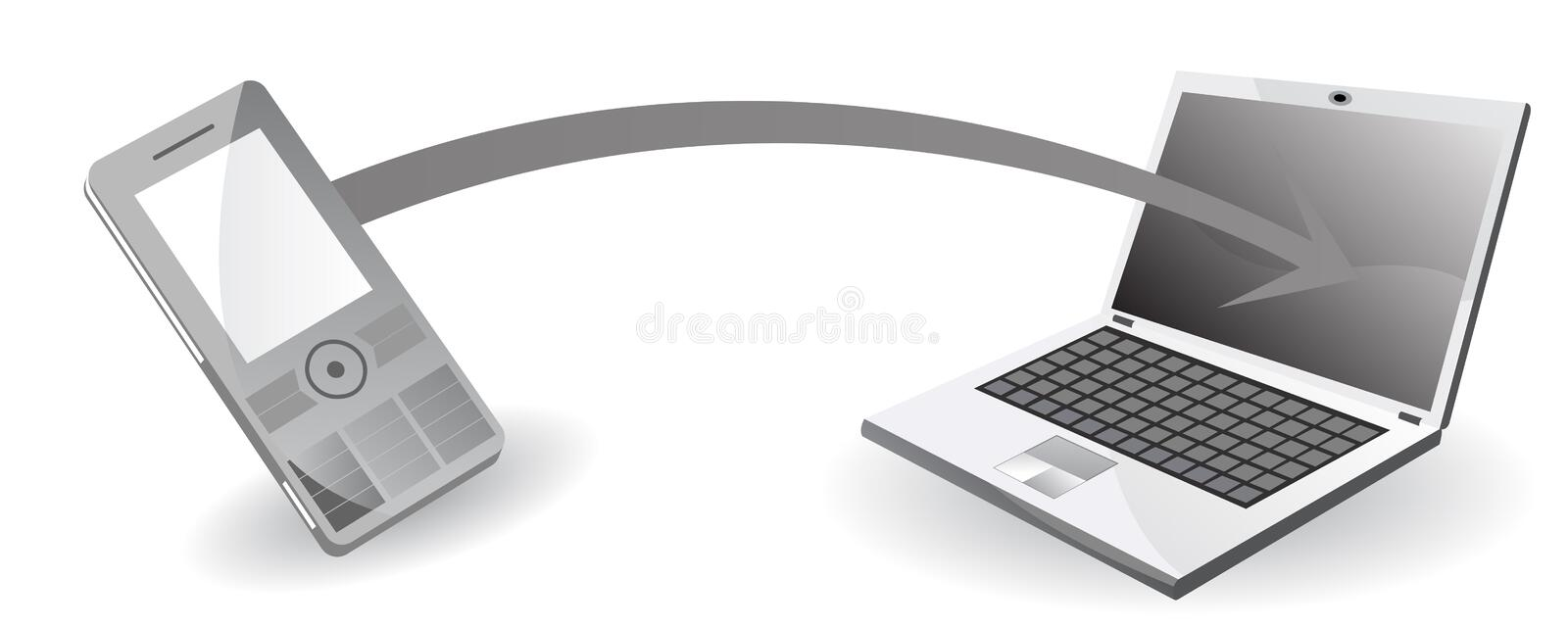 Data transfer from mobile phone to computer. Vector illustration stock illustration