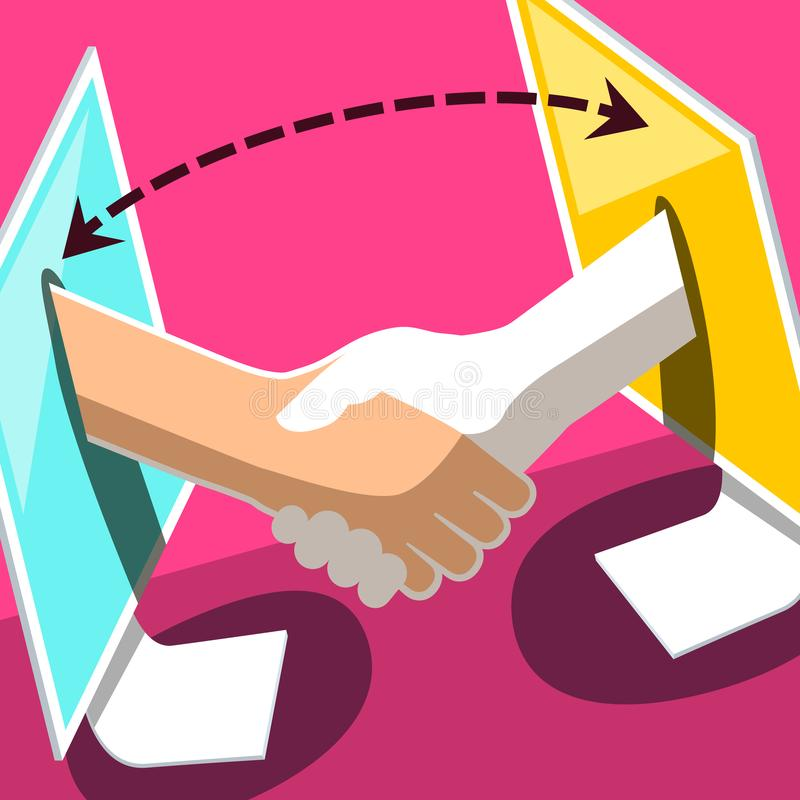 Data Transfer Symbol. Vector Illustration. Of Two Desktop Computers with Shaking Hands. Business Corporation Icon vector illustration