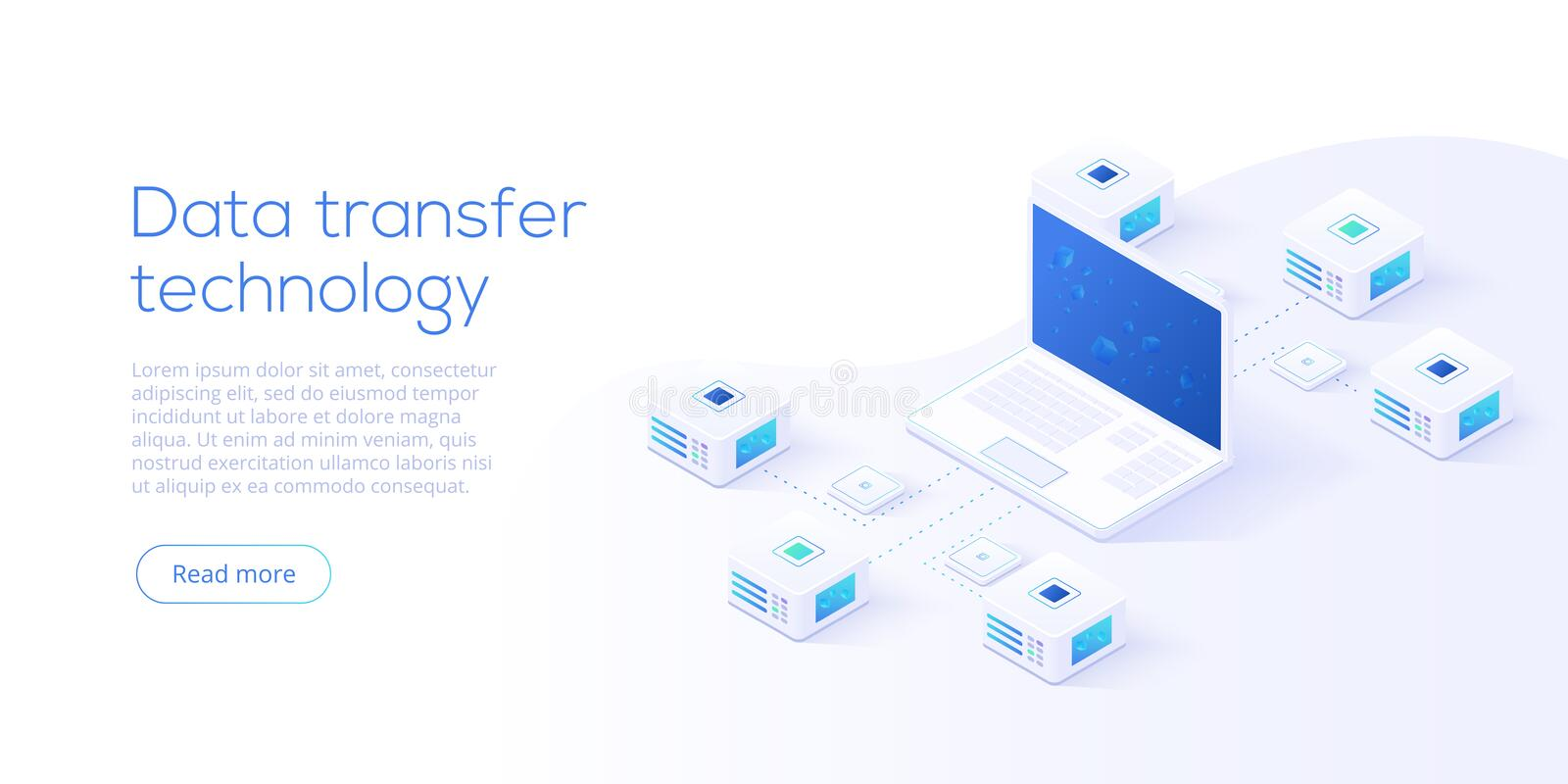 Data transfer via server isometric vector illustration. Abstract. 3d datacenter or blockchain background. Network mainframe website header layout. Computer vector illustration
