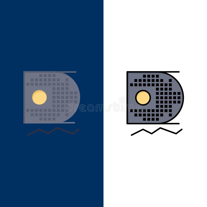 Data vetenskap, datavetenskap som bryter symboler Lägenheten och linjen fylld symbol ställde in blå bakgrund för vektorn vektor illustrationer