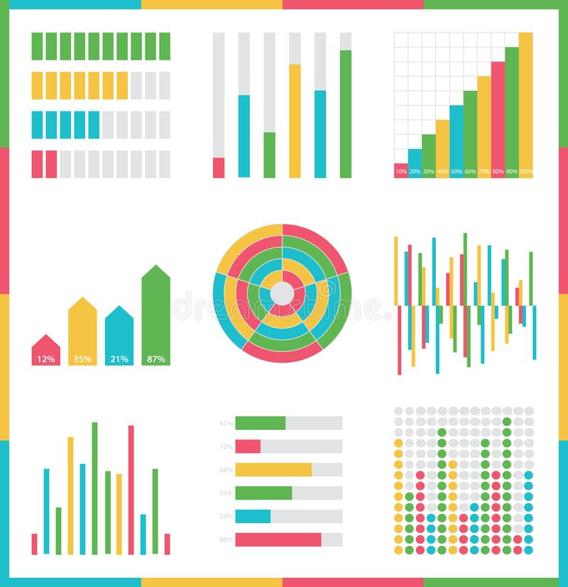 Infographic vector set. Rich collection of elements for marketing presentation, business reports. Data visualisation, quality layout templates, data analytics or vector illustration