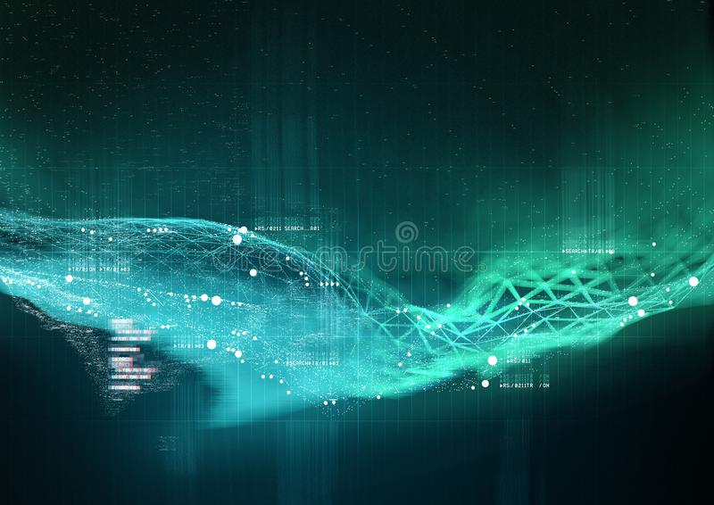 Data Visualization Background. Complex Visualization of data and technology working together. 3D Illustration royalty free illustration