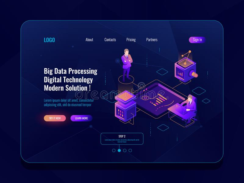 Data visualization concept isometric banner, data analysis, datacenter, dark neon royalty free illustration