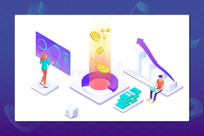 Data visualization concept. People interacting with charts and analysing statistics. Landing page template stock illustration
