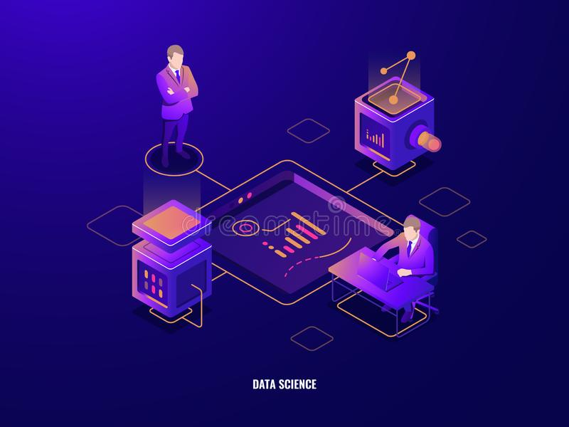 Data visualization concept, people teamwork isometric icon, cooperations, server room, programming and data processing. Cloud storage, dark neon vector stock illustration