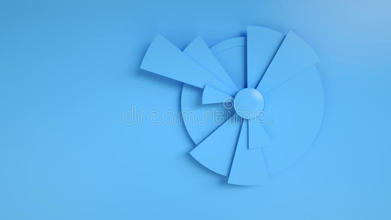 Data visualization. 3d render of monochrome blue pie chart with copy space for banner. Business, stock, marketing concept vector illustration