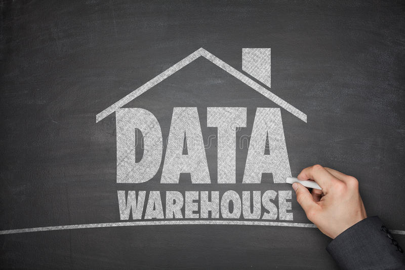 Data warehouse concept on blackboard stock photo