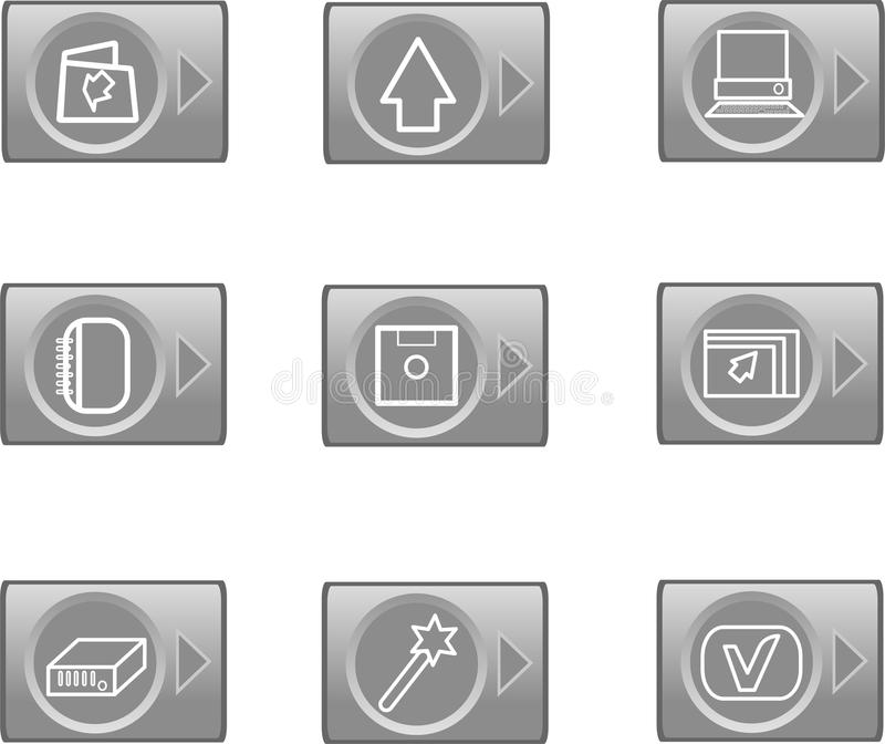 Data web icons, glossy circle buttons royalty free illustration
