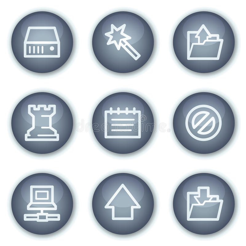 Data web icons, mineral circle buttons series vector illustration