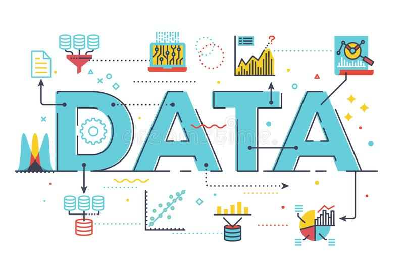 Data and information. An illustration of the word data with databases, graphs, charts, infographics and informatics royalty free illustration