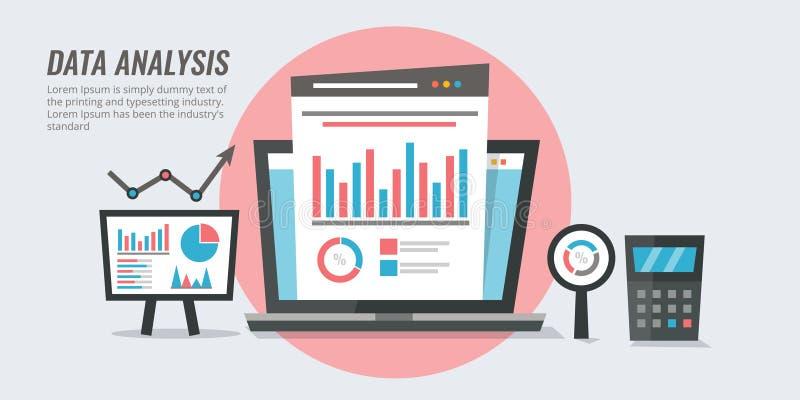 Dataanalys - information om marknadsföring - websiterevision som anmäler begrepp Analytisk vektorillustration för plan design stock illustrationer