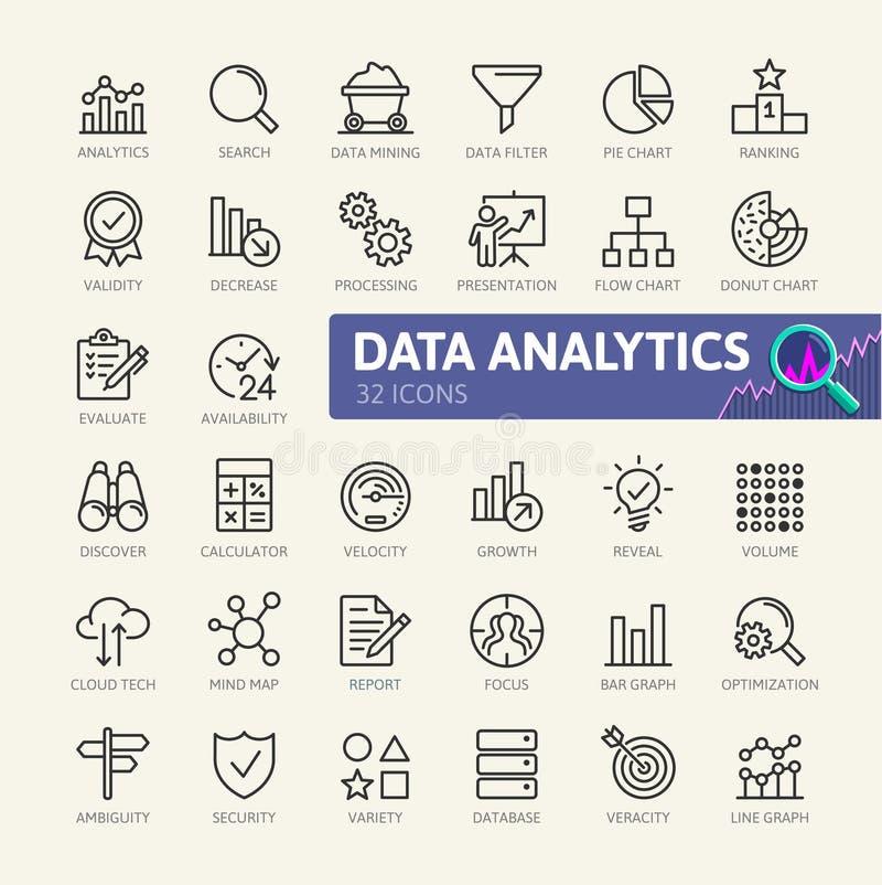 Dataanalys, statistik, analytics - minsta tunn linje rengöringsduksymbolsuppsättning Översiktssymbolssamling royaltyfri illustrationer