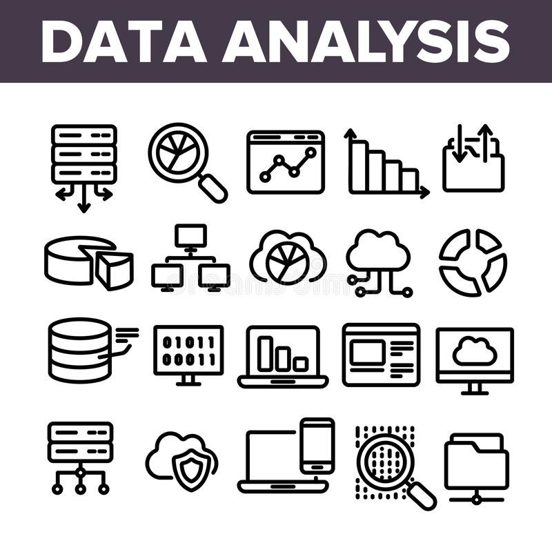 Dataanalys, uppsättning för symboler för vektor för rengöringsduklagring linjär vektor illustrationer