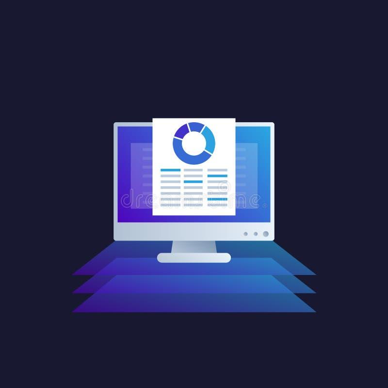 Dataanalytics, affärsintelligens, räkneark stock illustrationer