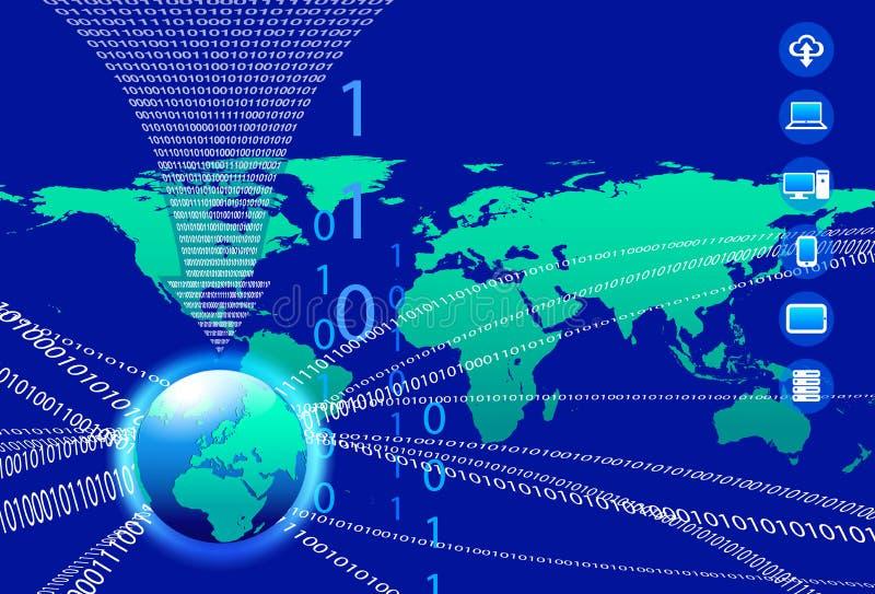Databakgrund - teknologiström för binär kod stock illustrationer