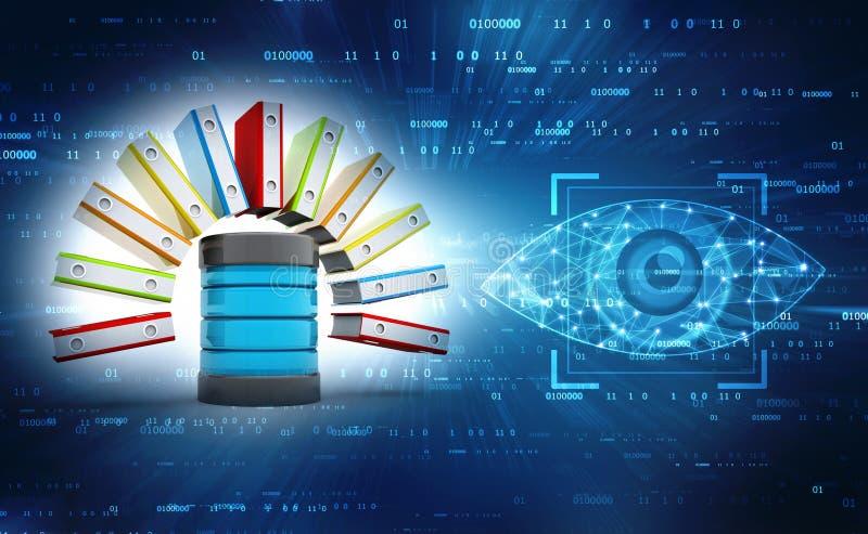 Databas eller arkivbegrepp Bärbar dator och mappkabinett med cirkellimbindningar 3d framför royaltyfri bild