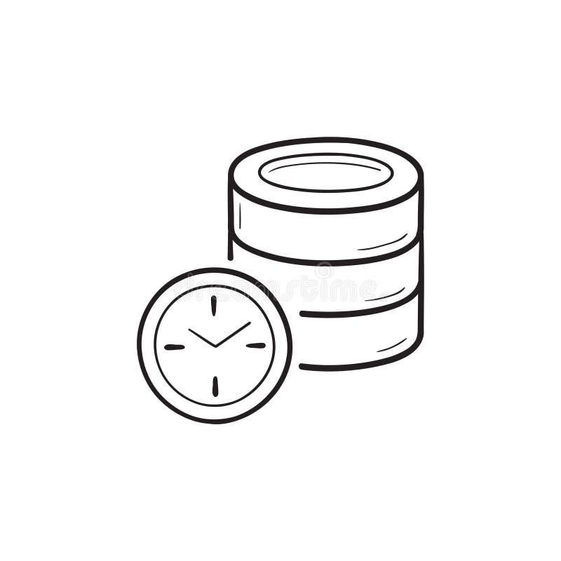 Databas med symbolen för klotter för översikt för klockahand den utdragna vektor illustrationer