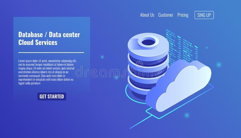 Databas och datacentersymbolen, moln servar begreppet, mappreserv och besparingen, isometrisk vektor för kopieringsmappstruktur vektor illustrationer