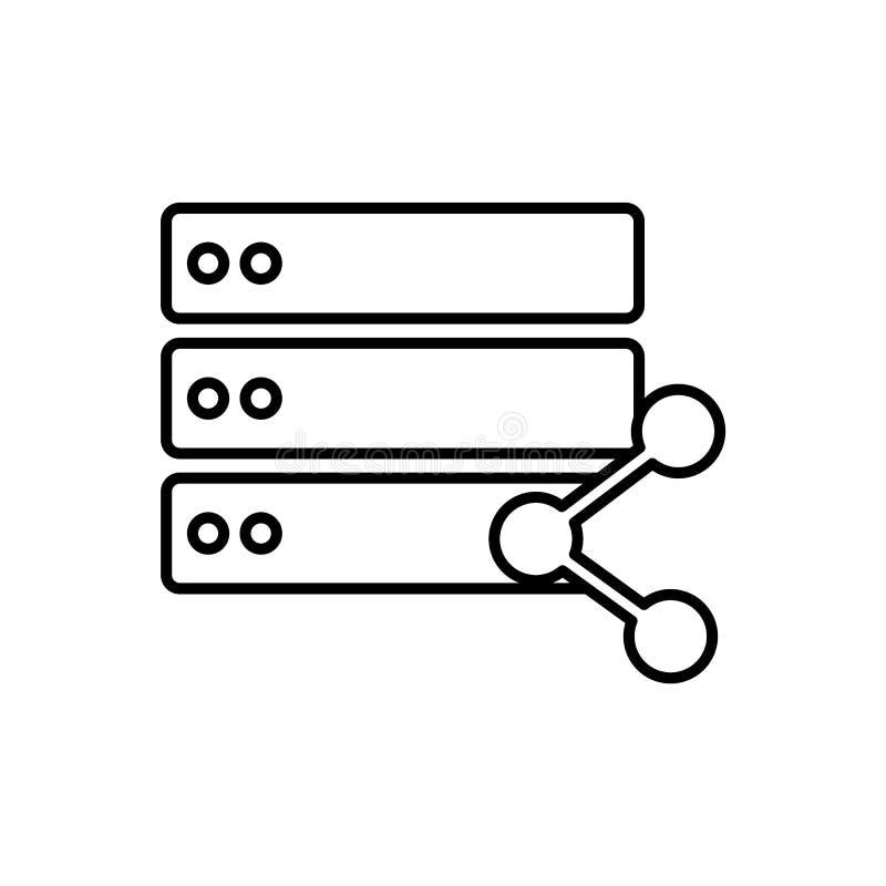 Databas server, aktiesymbol - vektor Databasvektorsymbol stock illustrationer