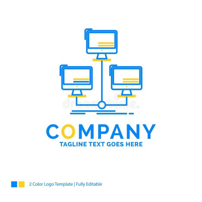 databas som fördelas, anslutning, nätverk, blå guling för dator royaltyfri illustrationer